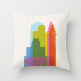 Shapes of San Diego Throw Pillow