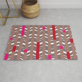 TRIBAL CHEVRON | mauve red Rug