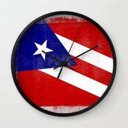 Puerto Rican Distressed Halftone Denim Flag Wall Clock