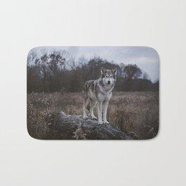 Wolf on Log Bath Mat