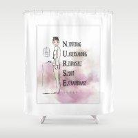 nurse Shower Curtains featuring Shift Nurse in Pink by Ginkelmier