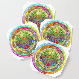 Inner Strength Psychedelic Tiger Sri Yantra Mandala Coaster