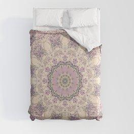 47 Wisteria Circle - Vintage Cream and Lavender Purple Mandala Comforters