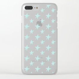 Baby blue stars Clear iPhone Case