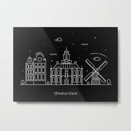 Amsterdam Minimalist Skyline Drawing Metal Print