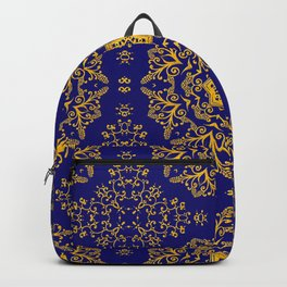 golden mandala pattern on the dark blue background Backpack