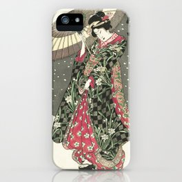 Snow - Japanese Color Woodblock Print iPhone Case