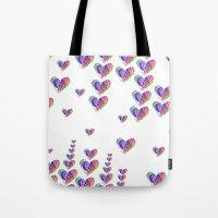 tetris Tote Bags featuring Love Tetris by Len Tierra