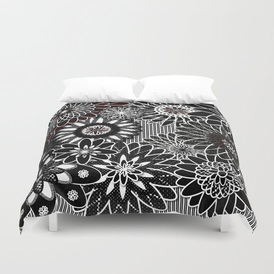 Flowers Black and White Duvet Cover