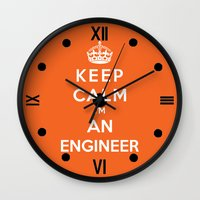 engineer Wall Clocks featuring Keep Calm I'm An Engineer by Funky House