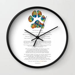 Rainbow Bridge Poem With Colorful Paw Print by Sharon Cummings Wall Clock
