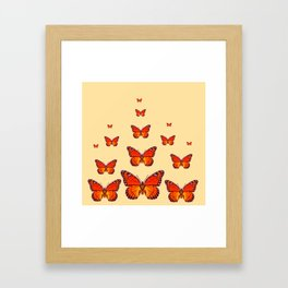 ORANGE MONARCH BUTTERFLIES CREAMY YELLOW Framed Art Print