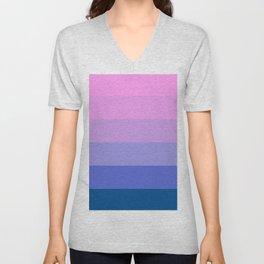 Elegant geometric pink lilac blue stripes pattern Unisex V-Neck
