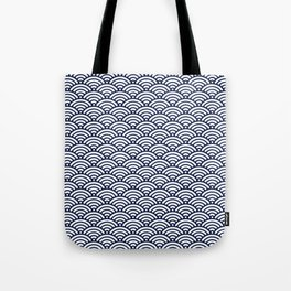 Navy Blue Wave Tote Bag