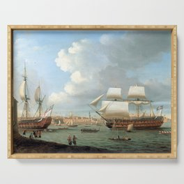 Dominic Serres Foudroyant and Pégase Entering Portsmouth Harbour, 1782 Serving Tray