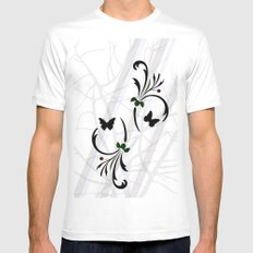 Abstract Forest MEDIUM White Mens Fitted Tee