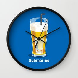 funny t-shirt cocktail submarine vodka in cup of beer Wall Clock