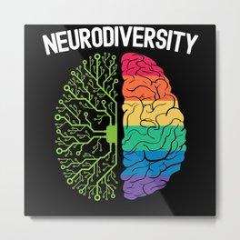 Neurodiversity Rainbow Autism Awareness ASD ADHD Metal Print