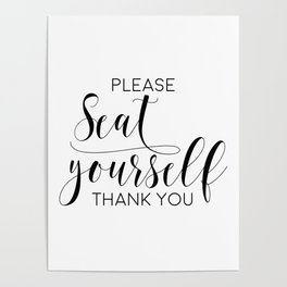Please Seat Yourself, Bathroom Sign, Printable Art, Bathroom Wall Decor, Art, Funny Bathroom Art Poster