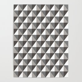 Black & Gray 3D Geometric Diamonds Poster