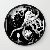 octopus Wall Clocks featuring Octopus by Elias Aquino