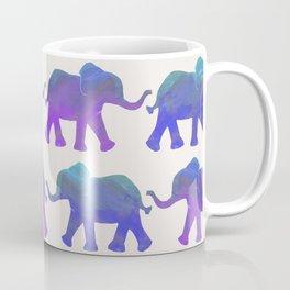 Follow The Leader - Painted Elephants in Royal Blue, Purple, & Mint Coffee Mug