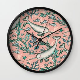 Narwhal Toile - peach pink Wall Clock