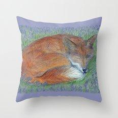 A Sleepy Fox  Throw Pillow