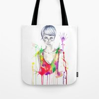 acid Tote Bags featuring acid by Lua Fraga