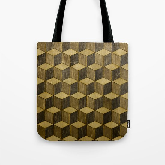 Optical wood cubes Tote Bag