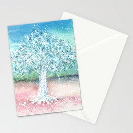 White Tree Illustration Art Stationery Cards