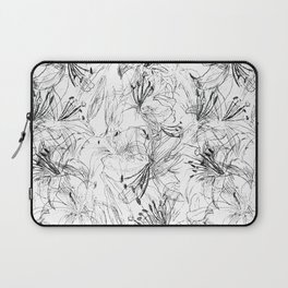 lily sketch black and white pattern Laptop Sleeve