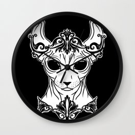Elven Sphynx Kitten - Magical Elf Sphynx Cat - Hairless Wall Clock