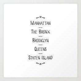 New York City Boroughs Art Print