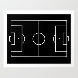 Soccer field / Football field in Black and White Art Print