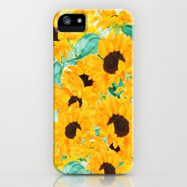 watercolor sunflower pattern 2019 iPhone Case