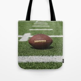 American Football Court with ball on Gras Tote Bag