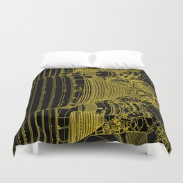 Apollo Rocket Booster - Yellow Neon Duvet Cover