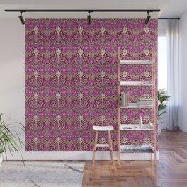 Art Nouveau Floral, Plum, Beige and Deep Purple Wall Mural