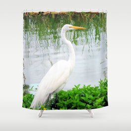 The Great White Egret:) (pointillism) | Large White Bird | Nature Photography Shower Curtain