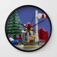 airplanes Wall Clocks featuring Airplanes by Pedro Nogueira