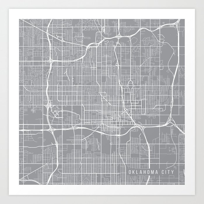 Oklahoma City Map Oklahoma Usa Pewter Art Print By