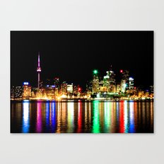 Toronto Skyline At Night From Polson St No 1 Canvas Print