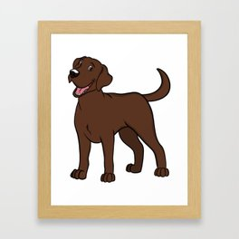 Happy Chocolate Lab Framed Art Print