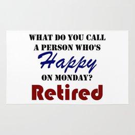 Retired On Monday Funny Retirement Retire Burn Rug