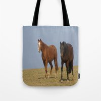 horses Tote Bags featuring horses by Laake-Photos