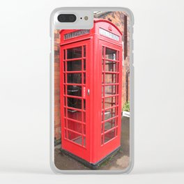 red phone call box london Clear iPhone Case