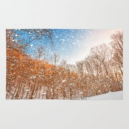 Snow Spattered Winter Forest Rug