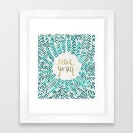 Treat Yo Self – Gold & Turquoise Framed Art Print