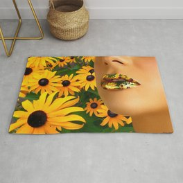 Lips in sunflowers Rug